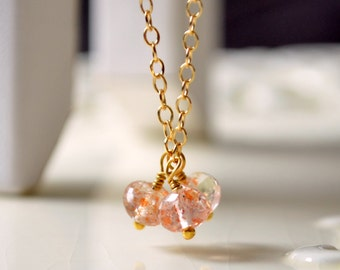 Sunstone Necklace, Gold Filled Jewelry, Genuine Gemstone Trio, Delicate, Wire Wrapped, Adjustable Length, Free Shipping