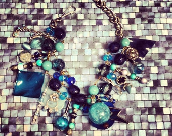 Recycled/Upcycled Ocean Blues  Charm Bracelet