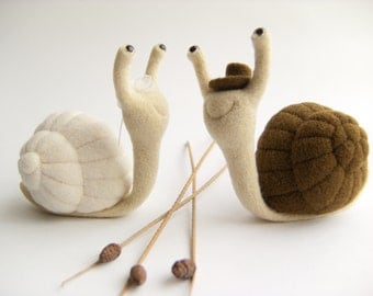 Funny Wedding Cake Topper - Needle Felted Snails
