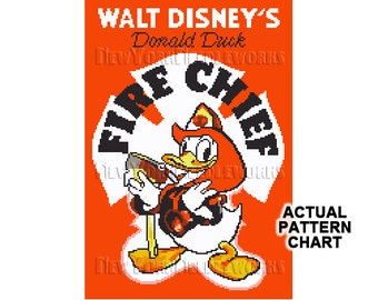 Donald Duck Cross Stitch, Donald Duck Pattern, Disney Cross Stitch, Disney, Needlepoint, Donald Duck, Firefighter Cross Stitch