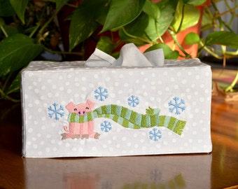 Winter Piggy Embroidered Tissue Box Cover