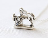 An Intricate Sterling Silver Sewing Machine Necklace - simple everyday jewelry
