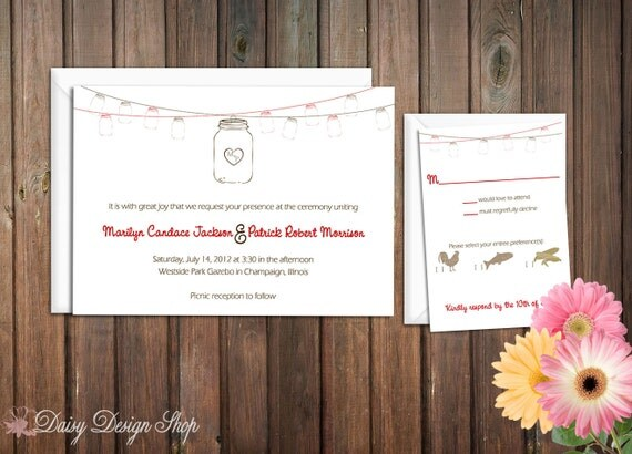 Wedding Invitation - Mason Jars Hanging on a Line - Rustic Chic - Invitation and RSVP Card with Envelopes