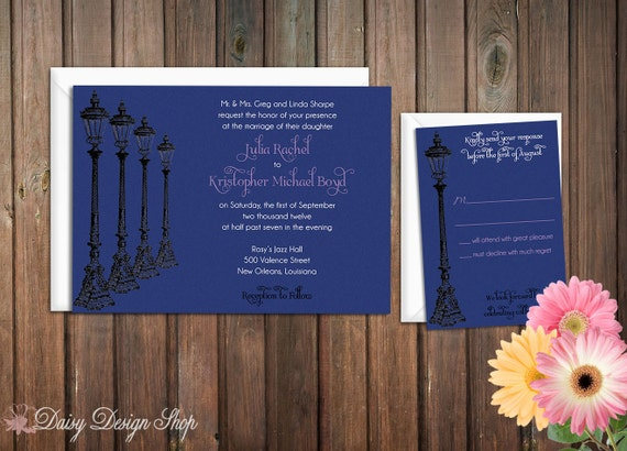 Wedding Invitation - Street Lamp Sketch - Southern Charm - Invitation and RSVP Card with Envelopes