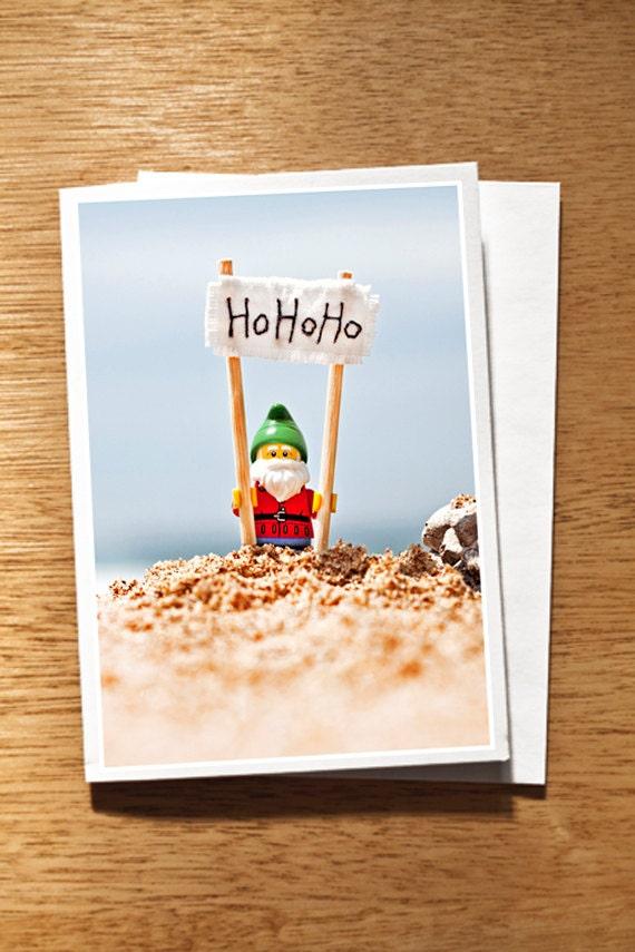 Lego Santa On The Beach Photo Card Ho