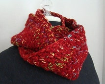 Red fireworks crocheted infinity mobius scarf