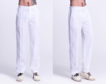 Naturally Argonite / Asian Style  Narrow Ankle Men's Linen Pants with Pleats / Elastic Waist / 7 Colors/ RAMIES