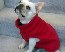 French Bulldog Red Fleece Pullover Jacket with Stand Up Collar