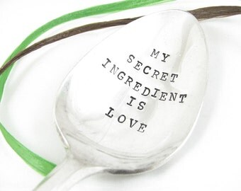 Stamped Serving Spoon. My Secret Ingredient is Love. Hostess Gift. Vintage Silverware by Dazzling Dezignz. 049EDAY