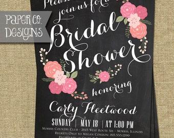 Printable Floral Chalkboard Bridal Shower Invitation - Digital File ONLY
