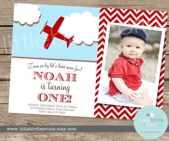Items Similar To Airplane Birthday Invitation: AIRPLANE INVITATION Vintage Birthday Party By