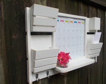 Dry Erase Magnetic Calendar--3 Slot Mail Organizer--Large Message Center--Wall Decor--Entry Way