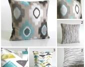 Ikat Pillow Cover, Ikat Cushion Cover, Ikat Pillow Sham, Decorative Pillow, Pillowcase, 18 Inch, 18x18 - Teal Collection