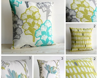 Cushion Cover, Pillow Sham, Decorative Pillow, Pillow Case, Throw Pillow Cover, 18x18, 18 Inch - Green Grey Collection