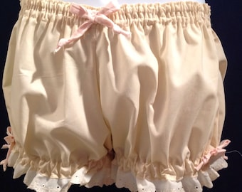 Womens Cotton Natural Colored Bloomers- Size Medium/Large