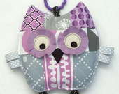 Baby Toy, Camille the Patchwork Owl, Crinkle Toy, Crinkle Owl, Great Baby Girl Gift, Lilac and Gray
