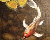 """Zen Koi Fish Painting """"A Time To Remember"""" by Michael H. Prosper 12 x 24 canvas"""