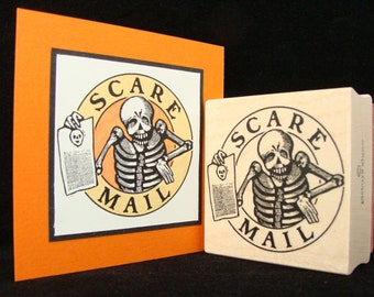 """halloween rubber stamp  """"scare mail"""""""
