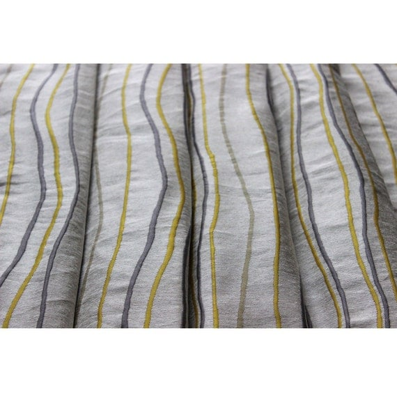 Yellow N Grey Stripes Curtain Fabric Upholstery Fabric Curtain Panels Drapery Fabric Window