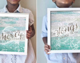 Come Thou Fount print set in turquoise, gray, and white