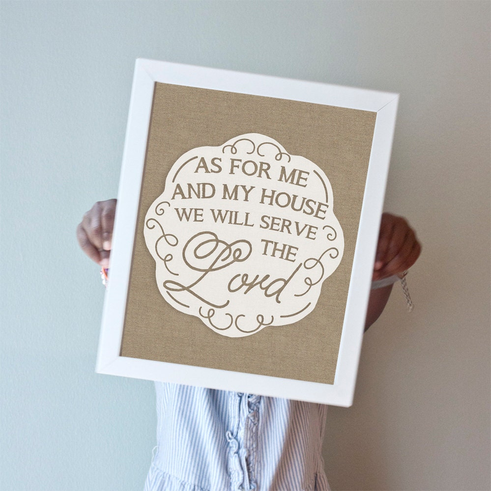 Printable 8x10 As For Me And My House burlap