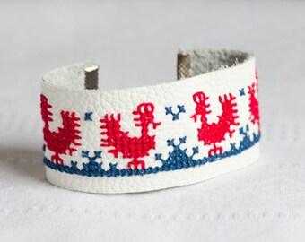 Leather bracelet - Ethnic Slavic embroidery - br011