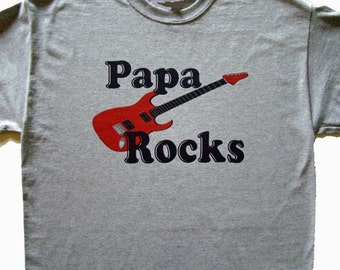 Papa ROCKS Tee - Red Guitar or Blue Guitar- Size S - 4XL- PAPA Father's day gift- custom printed tee shirt