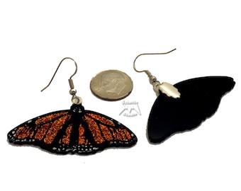 Elegant Orange Butterfly Earrings