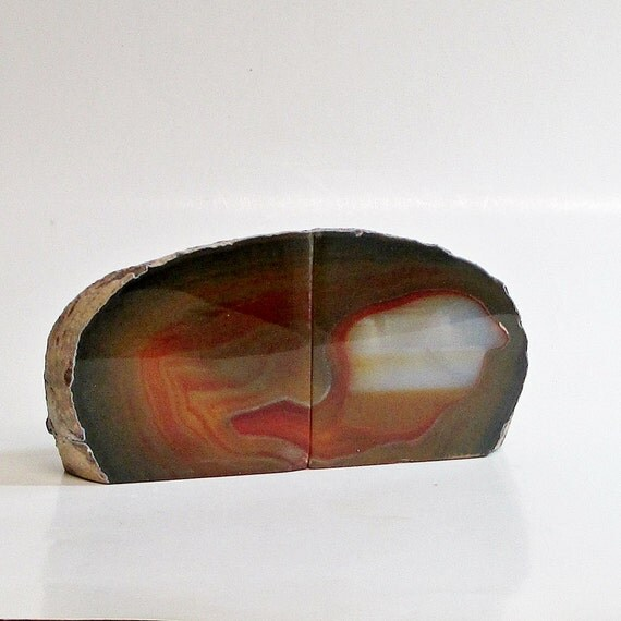 Geode bookends vintage agate brown and orange - Geode bookends ...