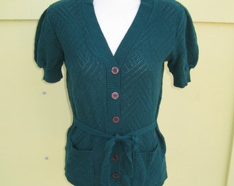 1970s long Acrylic Knit short puff sleeve sweater