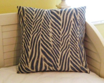 Safari Animal Design in Blue, Gray and Cream Designer Pillow Cover - Square, Euro and Lumbar Sizes