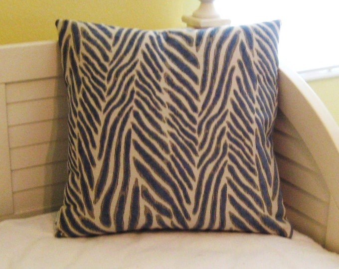 Safari Animal Design in Blue, Gray and Cream Designer Pillow Cover - Square, Euro and Lumbar Sizes