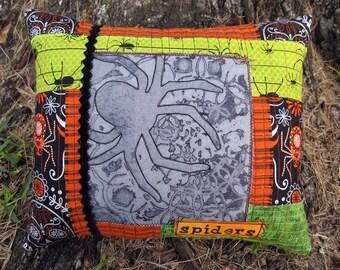 Spider Halloween Pillow, Spider Web Decor, Mixed Media Halloween, OOAK Original Design, Quilt, Textile Art, Hand Dyed Printed Fabric, HAFAIR