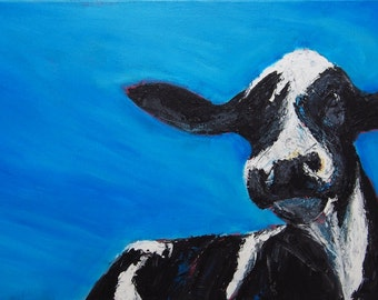 """Cow on the Range, Original """"12x24"""" Acrylic Painting on Canvas by Paul Piasecki"""