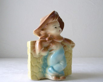 farmer planter - little cowboy ceramic pot - usa pottery