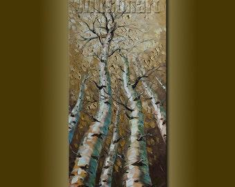 Original Birch Tree Landscape Painting Oil on Canvas Textured Palette Knife Modern Art Seasons 18X36 by Willson Lau