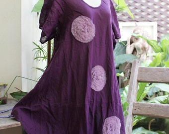 L-XXL Roomy A-Shape Tunic - Short Sleeves - Dark Purple