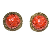 40s Cinnabar earrings/ Chinese, Carved Floral Design