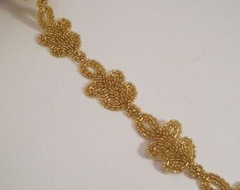 Gold Beaded Leaf Design Trim--One Yard