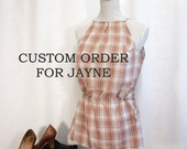 RESERVED FOR JAYNE Upcycled plaid halterneck top with adjustable waist