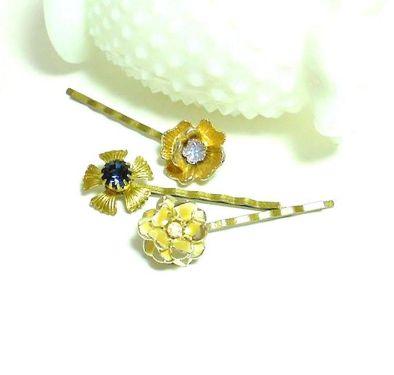 Vintage UpCycled Floral Bobby Pin SET - OOAK Bridal Hair - Reclaimed Vintage - Flower Hair Pins - Jeweled Hair Pins - Assemblage Jewelry
