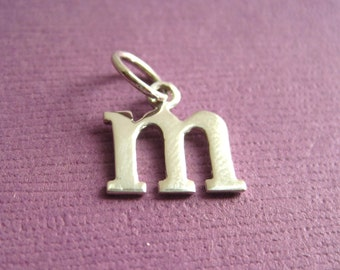 Sterling Silver Alphabet Letter m Initial Charm in Typewriter Style