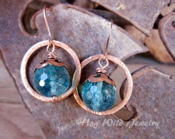 Handcrafted Artisan Copper and Quartz Earrings, Women's Artisan Earrings, Copper Ear Wire Earrings, Women's Handcrafted Earrings
