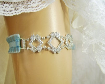 Crystal Sparkle Bling Wedding Garter with Blue Stretch Ruffle Trim Something Blue Crystal Wedding Garter