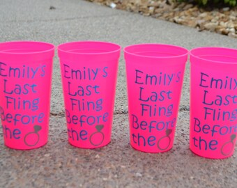 Personalized Bachelorette Cups, Set of 4 Tumblers, Last Fling Before the Ring, Party Cups, Girls Weekend, Bachelorette Weekend