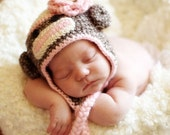Sock Monkey hat.. baby hat.. photo prop....crochet hat... Photography  Prop ..Newborn photo prop..20% off with code VALEN1 at checkout