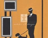 Mid Century Modern Print Man dog fashion canvas painting