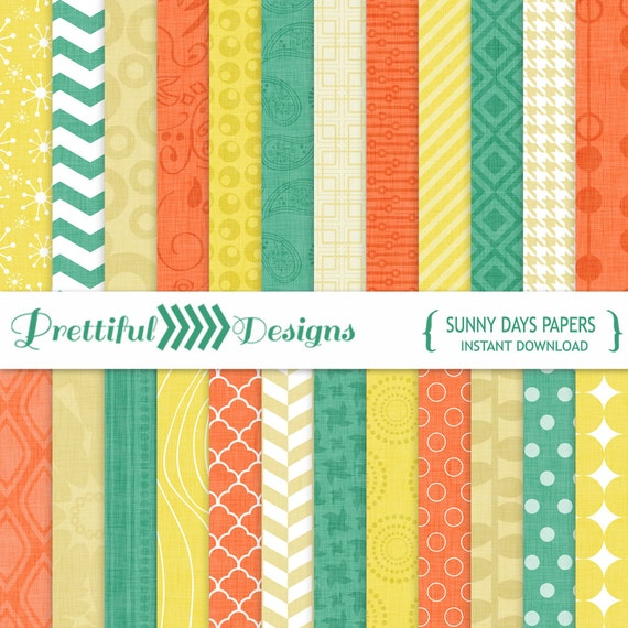 30% OFF SALE Digital Paper Teal Yellow Coral Cream - CU Ok - Sunny Days (802)