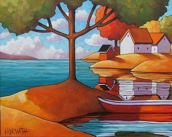 "Giclee Art Print by Horvath 5""x7"" Folk Art Red Canoe Summer Vacation Cottages, Trees River Lake Boat Landscape, Modern Reproduction Artwork"