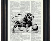 BOGO SALE Upcycled Dictionary Art Prints Narnia Print on Vintage Dictionary Page Lion